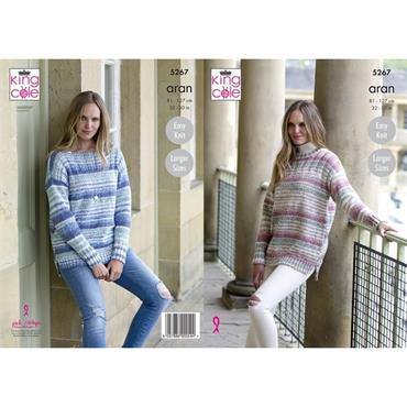 King Cole Pattern #5267 Easy Knit Sweaters in Aran