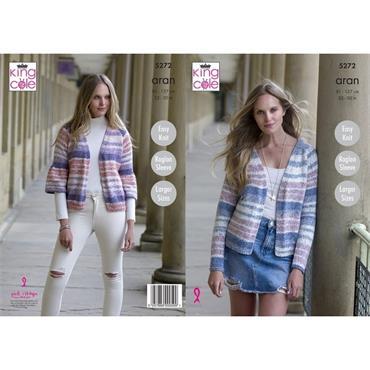 King Cole Pattern #5272 Easy Knit Cardigans in Aran