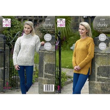 King Cole #5289 Sweaters in Chunky Tweed