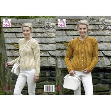 King Cole #5291 Sweater & Cardigan in Chunky Tweed