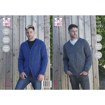 King Cole #5307 V Neck Cardigan & Sweater in Big Value Super Chunky Stormy
