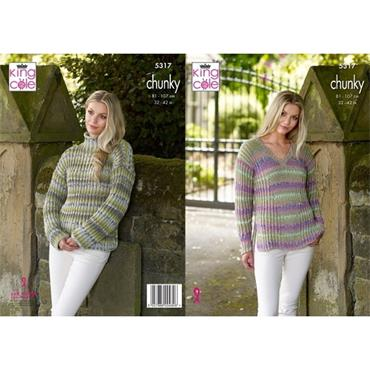 King Cole #5317 Sweaters in Drifter Chunky