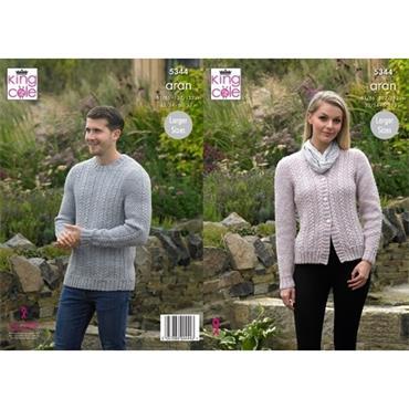 King Cole Pattern #5344 Sweater & Cardigan in Fashion Aran