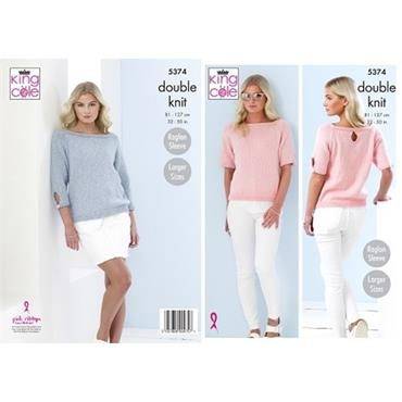 King Cole Pattern #5374 Sweaters in Cotton Top DK