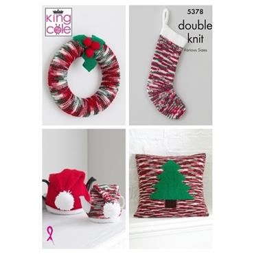 King Cole Pattern #5378 Christmas Accessories in Glitz DK