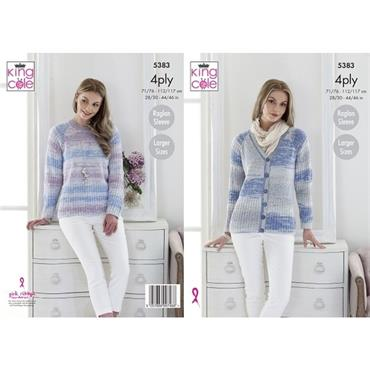 King Cole #5383 Cardigan & Sweater in Drifter 4ply