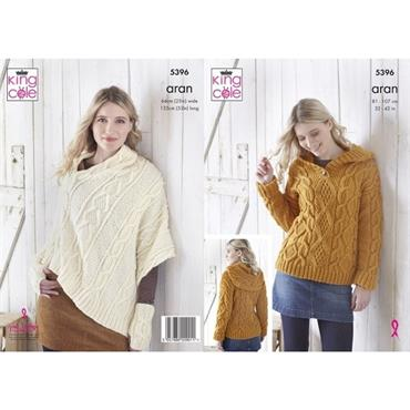 King Cole #5396 Hoodie & Poncho in Fashion Aran