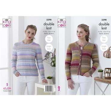 King Cole Pattern #5398 Cardigan & Sweater in Sprite DK