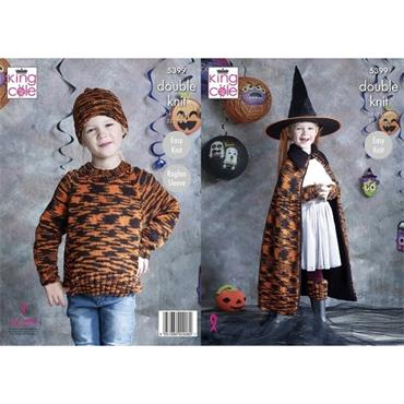 King Cole #5399 Sweater, Wrist Warmer, Hat, Leg Warmers, Cape & Pumpkin in Glitz DK