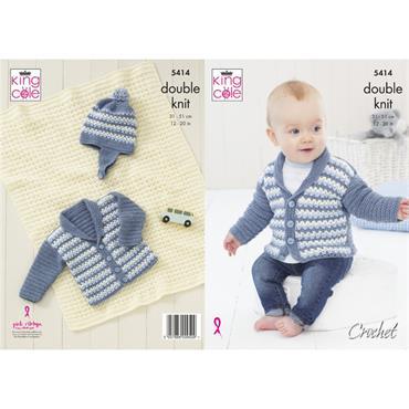 King Cole Pattern #5414 Baby Boy's Jacket, Hat & Blanket Crocheted in BV Baby DK