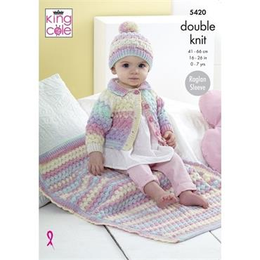 King Cole #5420 Cardigan, Hat & Blanket in Beaches DK