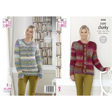 King Cole Pattern #5458 Sweater & Cardigan in Explorer Super Chunky