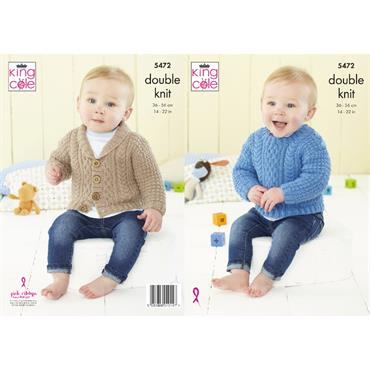 King Cole Pattern #5472 Babies Sweater & Jacket in Big Value Baby DK 50g