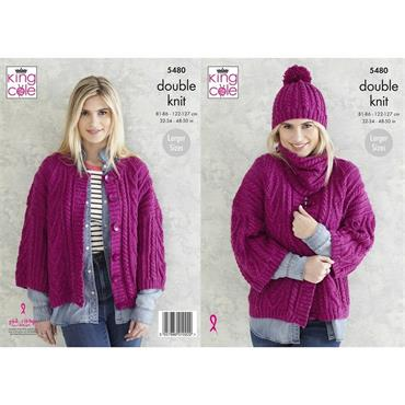 King Cole Pattern #5480 Ladies Jacket, Snood & Hat in DK