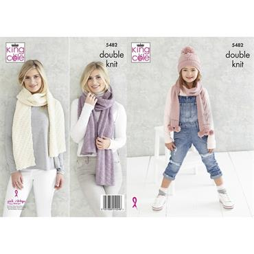 King Cole Pattern #5482 Girl's Hat & Scarf, Ladies Shawls