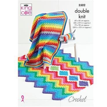 King Cole Pattern #5502 Crochet Baby Blanket & Toy in DK
