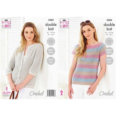 King Cole Pattern #5504 Top & Cardigan Crocheted in Cotton Top DK