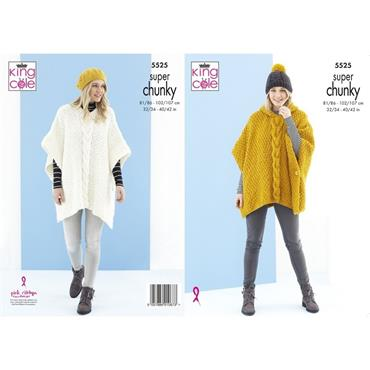 King Cole Pattern #5525 Ponchos & Hat in Timeless Super Chunky