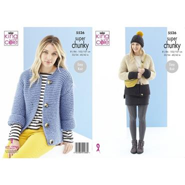 King Cole Pattern #5526 Cardigans & Hat in Timeless Super Chunky
