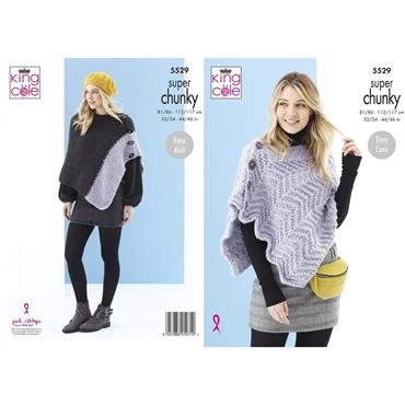 King Cole Pattern #5529 Ladies Poncho & Shawl in Timeless Super Chunky