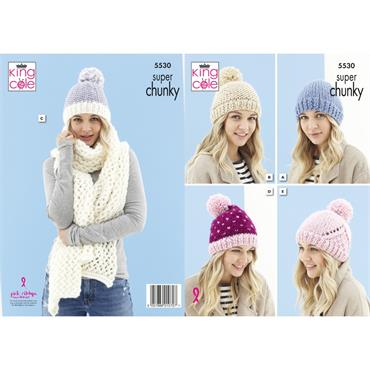 King Cole Pattern #5530 Hats & Scarf in Timeless Super Chunky