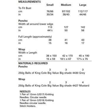 King Cole Pattern #5532 Poncho & Wrap