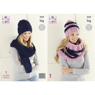 King Cole Pattern #5533 Hat, Cowl & Scarf