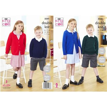 King Cole Pattern #5541 V & Round Neck Cardigan & Sweaters in Pricewise DK