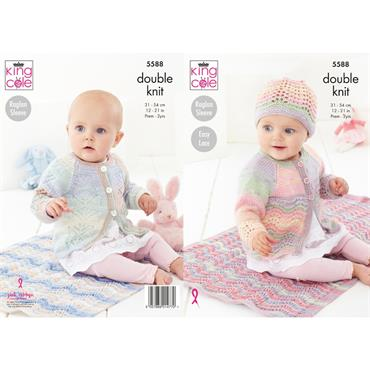 King Cole Pattern #5588 Blanket, Matinee Coat, Cardigan & Hat in DK