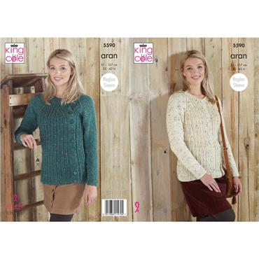 King Cole Pattern #5590 Cardigan & Sweater with Off-Set Button Band