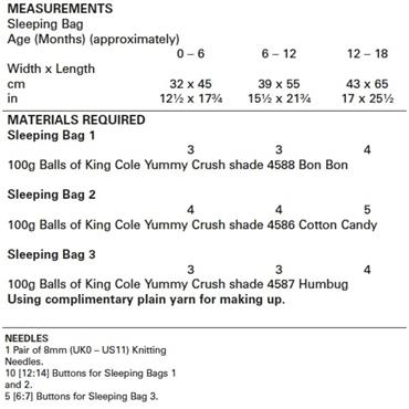 King Cole Pattern #5603 Sleeping Bags in Yummy Crush