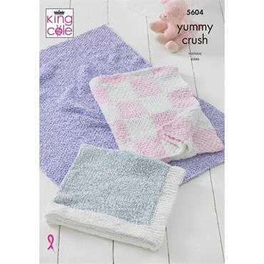 King Cole Pattern #5604 Blankets in Yummy Crush