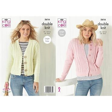 King Cole Pattern #5616 Ladies Cardigans in DK