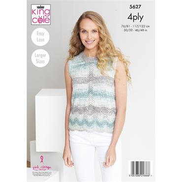 King Cole Pattern #5627 Cardigan & Top in Drifter 4ply