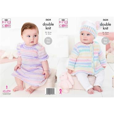 Pattern #5634 Baby Set Knitted in Candystripe DK