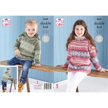 King Cole Pattern #5650 Sweater & Hoodie in Fjord DK