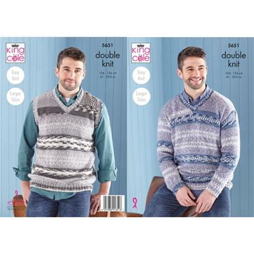 King Cole Pattern #5651 Mens Sweater & Tank Top in Fjord DK
