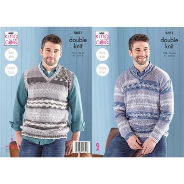 King Cole Pattern #5651 Mens Sweater & Tank Top in Fjord DK