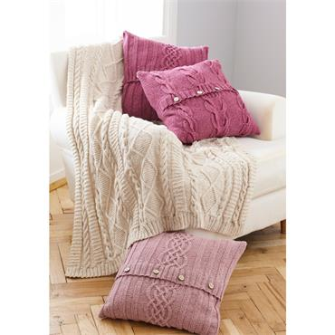 King Cole Pattern #5660 Throw & Cushion Covers in Forest Aran