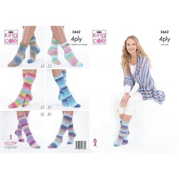 King Cole Pattern #5662 Socks & Triangular Wrap in Summer 4Ply