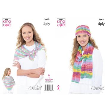 King Cole Pattern #5663 Scarf, Hat & Triangular Wrap in Summer 4Ply