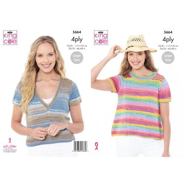 King Cole Pattern #5664 Tops in Summer 4Ply
