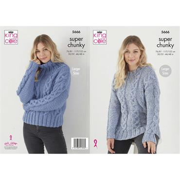 Pattern #5666 Sweaters Knitted in Timeless Classic Super Chunky