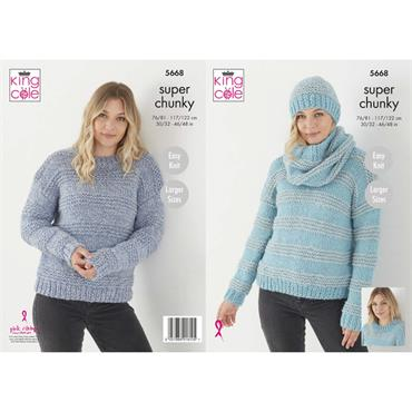 Pattern #5668 Sweater, Hat & Cowl Knitted in Timeless Classic Super Chunky