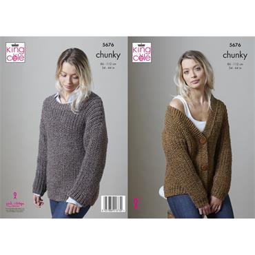 Pattern #5676 Cardigan & Sweater Knitted in Big Value Poplar Chunky