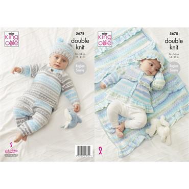 Pattern #5678 Sweater, Pants, Jacket, Hat & Blanket Knitted in Cherish DK