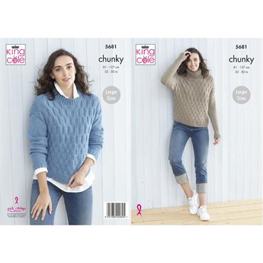 Pattern #5681 Ladies Sweaters Knitted in Subtle Drifter Chunky