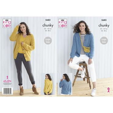 Pattern #5683 Cardigans Knitted in Subtle Drifter Chunky