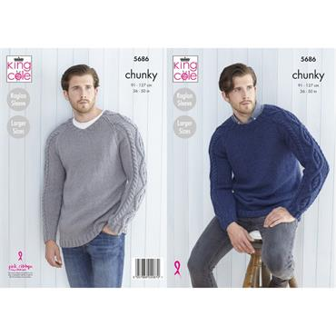 Pattern #5686 Mens Sweaters Knitted in Subtle Drifter Chunky
