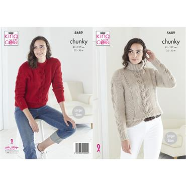 Pattern #5689 Ladies Sweaters in Ultra Soft Chunky